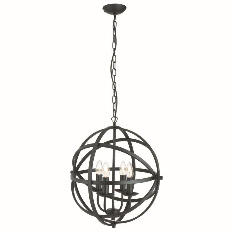 Searchlight-2474-4BK - Orbit - Matt Black 4 Light Spherical Cage Pendant