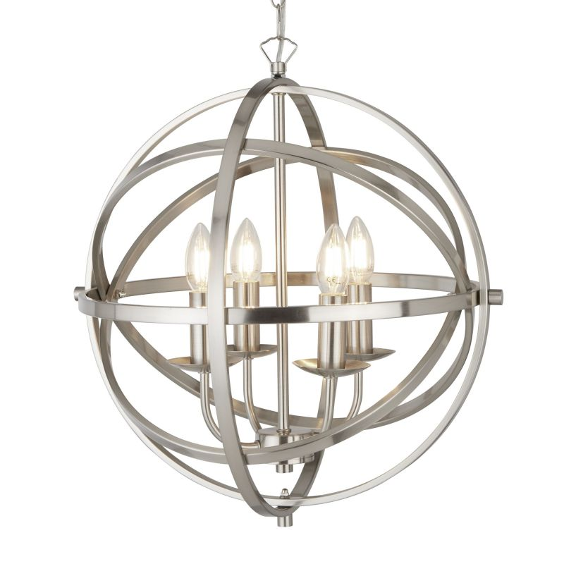 Searchlight-2474-4SS - Orbit - Satin Silver 4 Light Spherical Cage Pendant