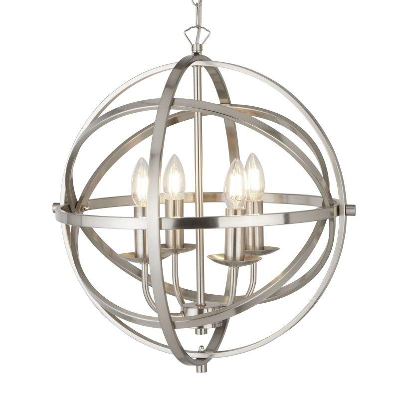 Searchlight-2474-4SS - Orbit - Satin Silver 4 Light Spherical Cage Pendant