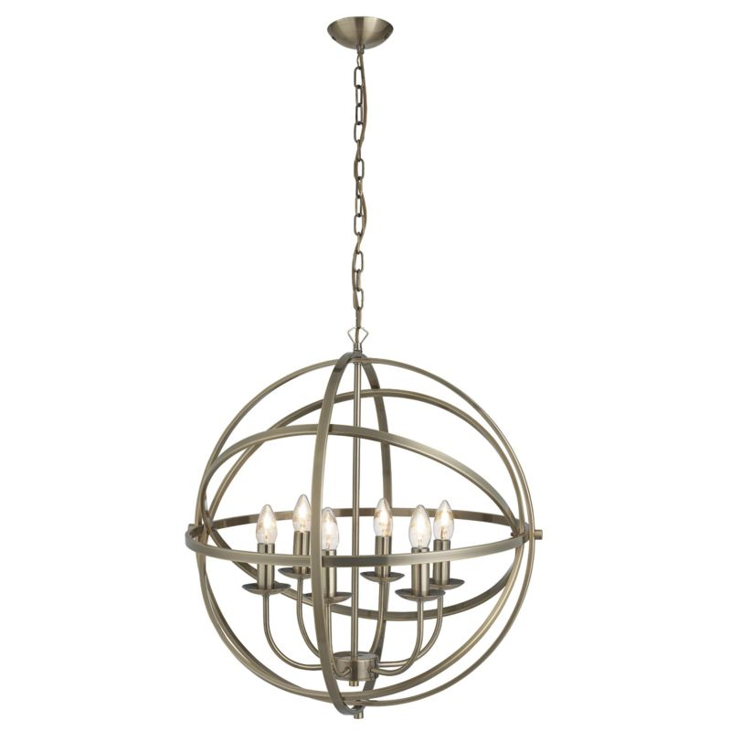Searchlight-2476-6AB - Orbit - Antique Brass 6 Light Spherical Cage Pendant