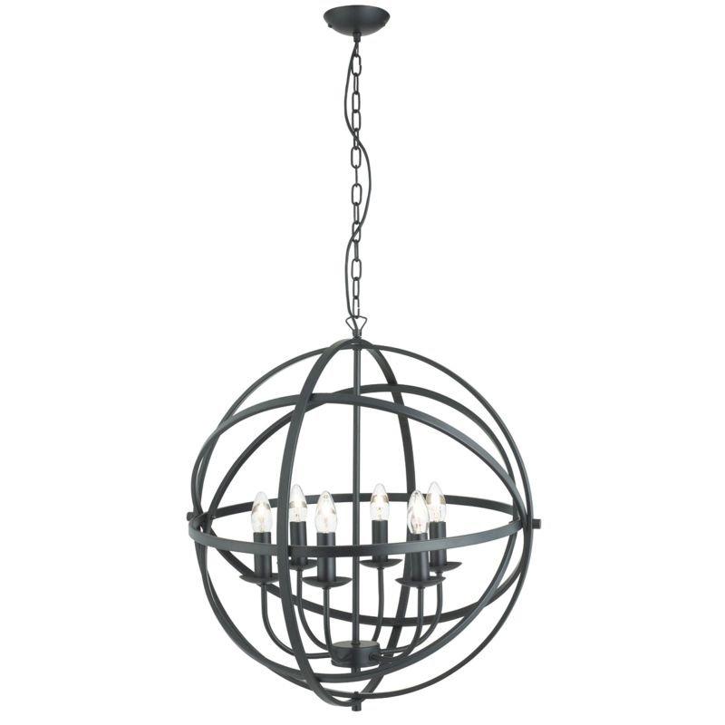 Searchlight-2476-6BK - Orbit - Matt Black 6 Light Spherical Cage Pendant