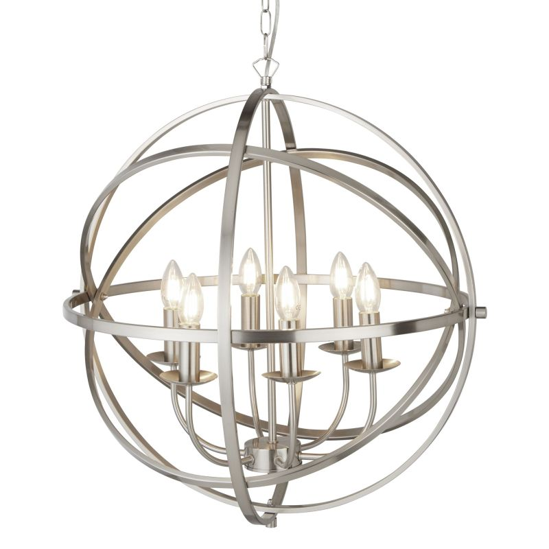 Searchlight-2476-6SS - Orbit - Satin Silver 6 Light Spherical Cage Pendant