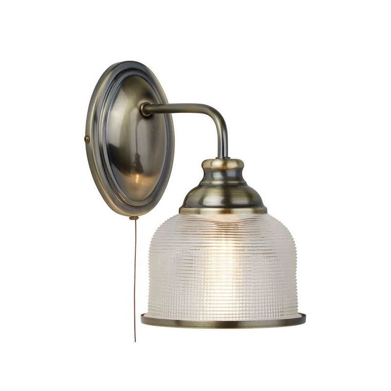 Searchlight-2671-1AB - Bistro II - Textured Clear Glass & Antique Brass Wall Lamp