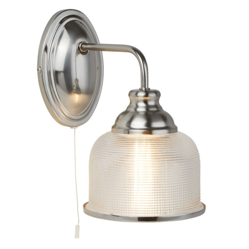 Searchlight-2671-1SS - Bistro II - Textured Clear Glass & Satin Silver Wall Lamp