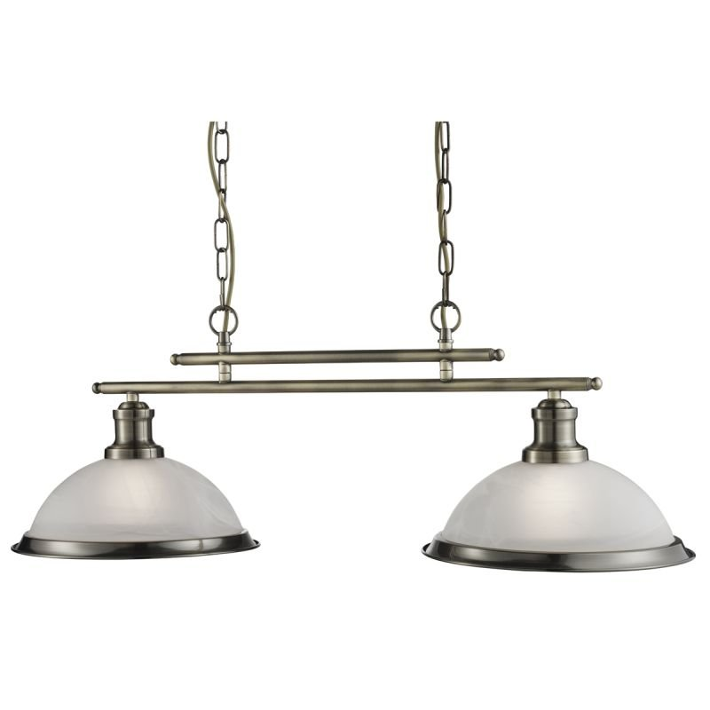 Searchlight-2682-2AB - Bistro - Alabaster Glass & Antique Brass 2 Light over Island Fitting