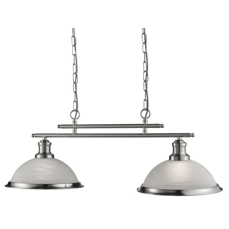 Searchlight-2682-2SS - Bistro - Alabaster Glass & Satin Silver 2 Light over Island Fitting