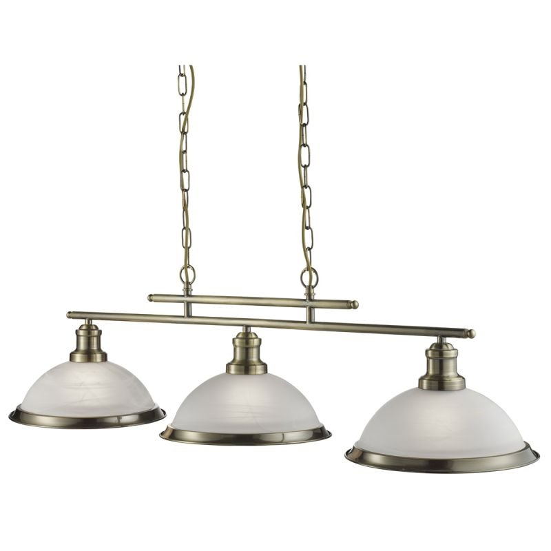 Searchlight-2683-3AB - Bistro - Alabaster Glass & Antique Brass 3 Light over Island Fitting