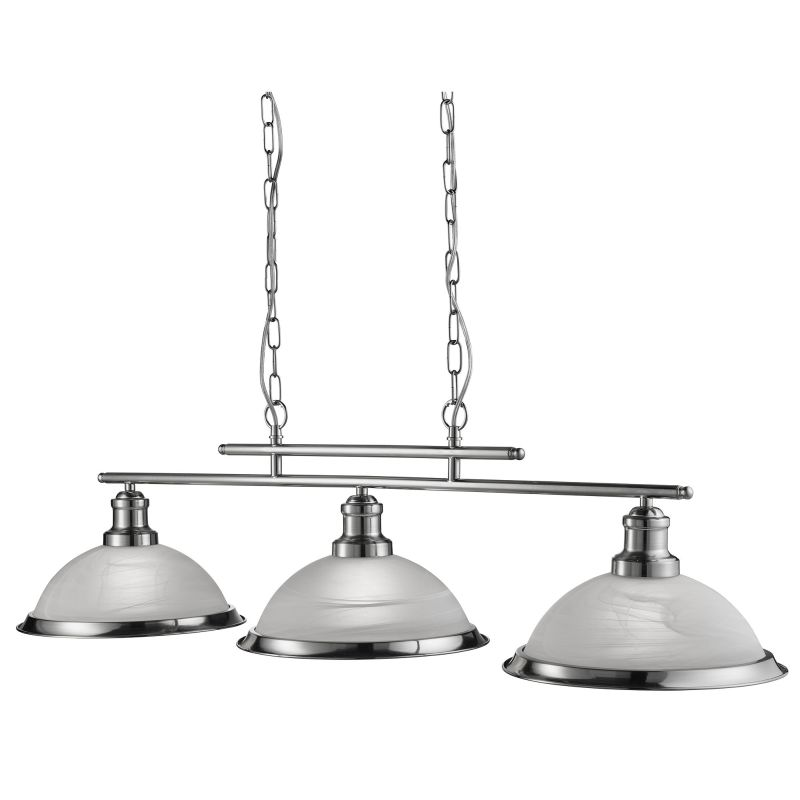 Searchlight-2683-3SS - Bistro - Alabaster Glass & Satin Silver 3 Light over Island Fitting
