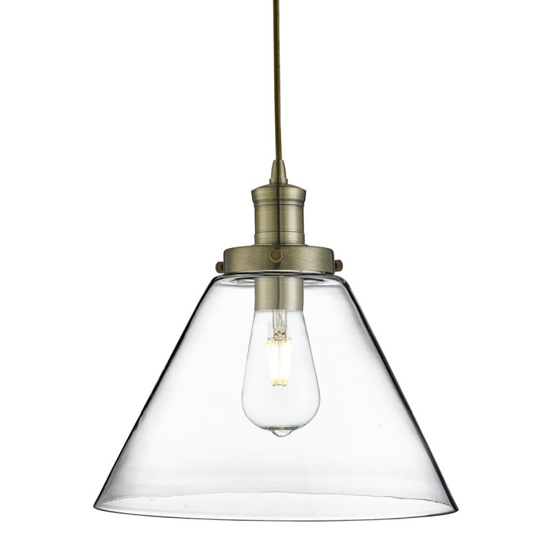 Searchlight-3228AB - Pyramid - Clear Glass with Antique Brass Single Pendant