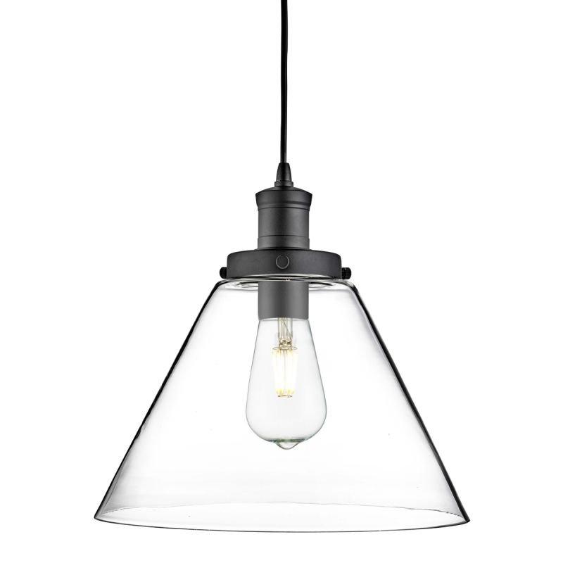 Searchlight-3228BK - Pyramid - Clear Glass with Matt Black Single Pendant