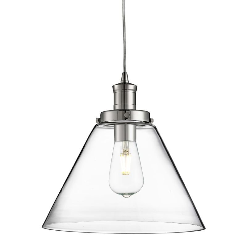 Searchlight-3228CC - Pyramid - Clear Glass with Chrome Single Pendant