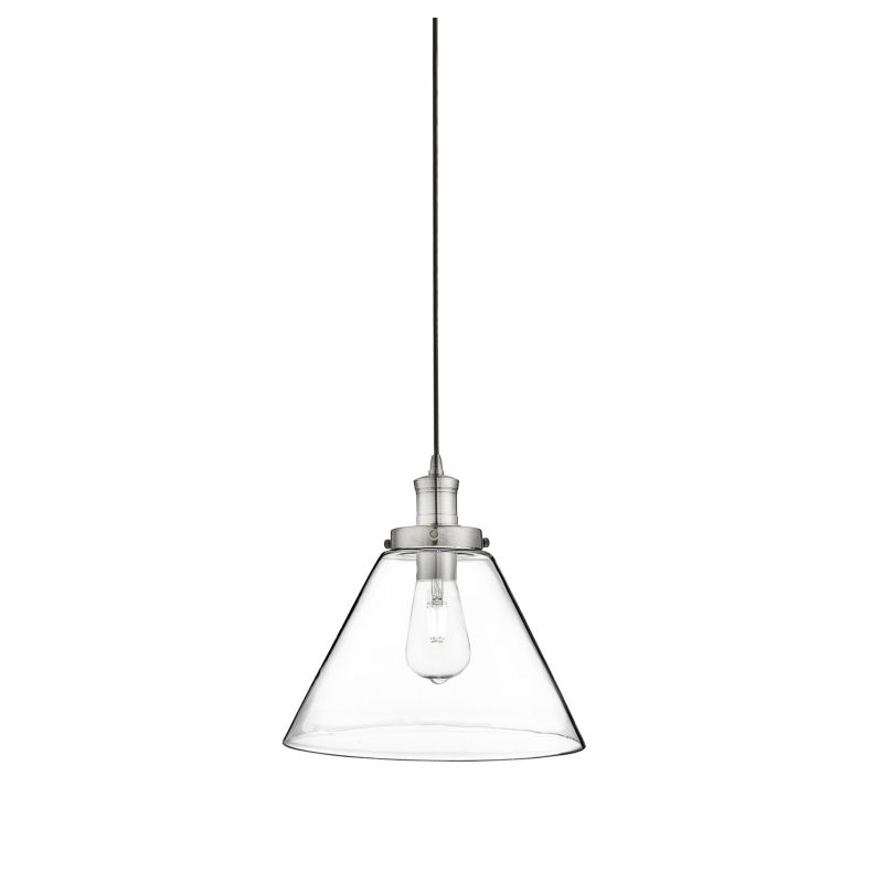 Searchlight-3228SS - Pyramid - Clear Glass with Satin Silver Single Pendant