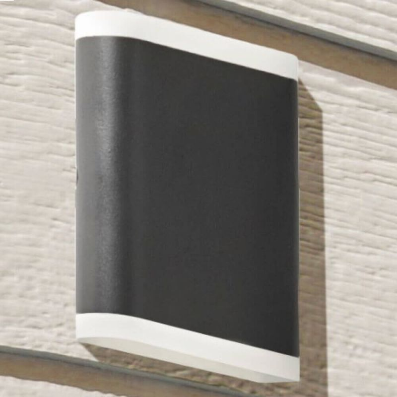 Searchlight-3486BK - Outdoor - Black Up&Down Wall Lamp with Diffuser