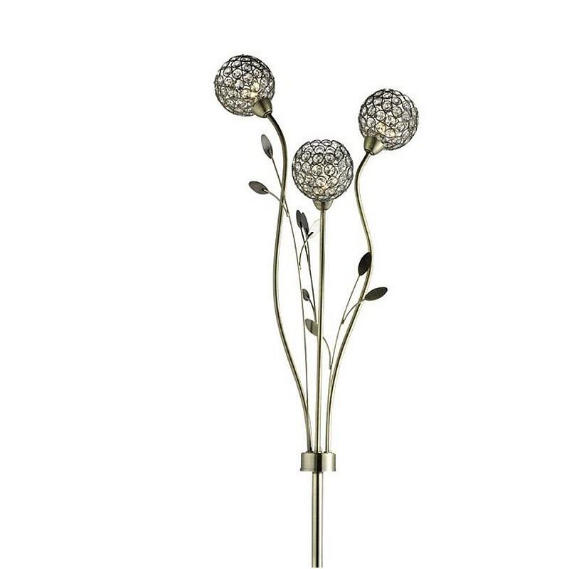 Searchlight-3573AB - Bellis II - Crystal & Antique Brass Leaf 3 Light Floor Lamp