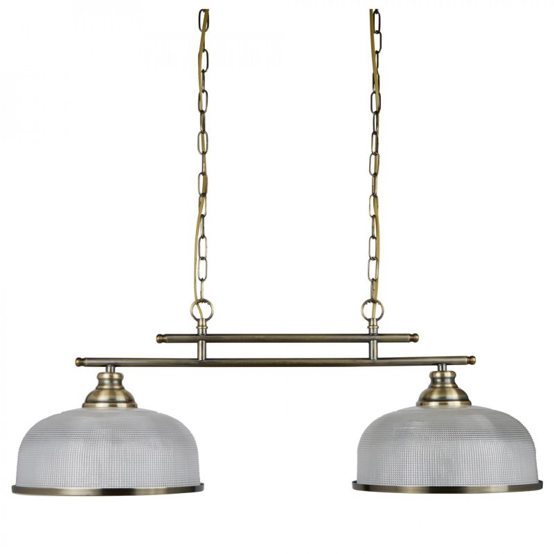 Searchlight-3592-2AB - Bistro II - Textured Clear Glass & Antique Brass 2 Light over Island Fitting