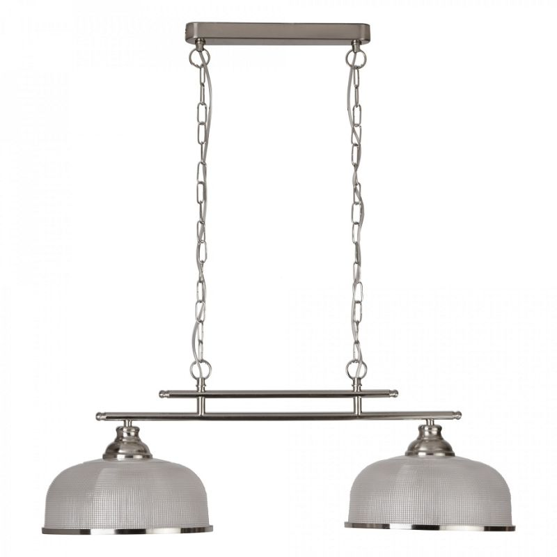 Searchlight-3592-2SS - Bistro II - Textured Clear Glass & Satin Silver 2 Light over Island Fitting