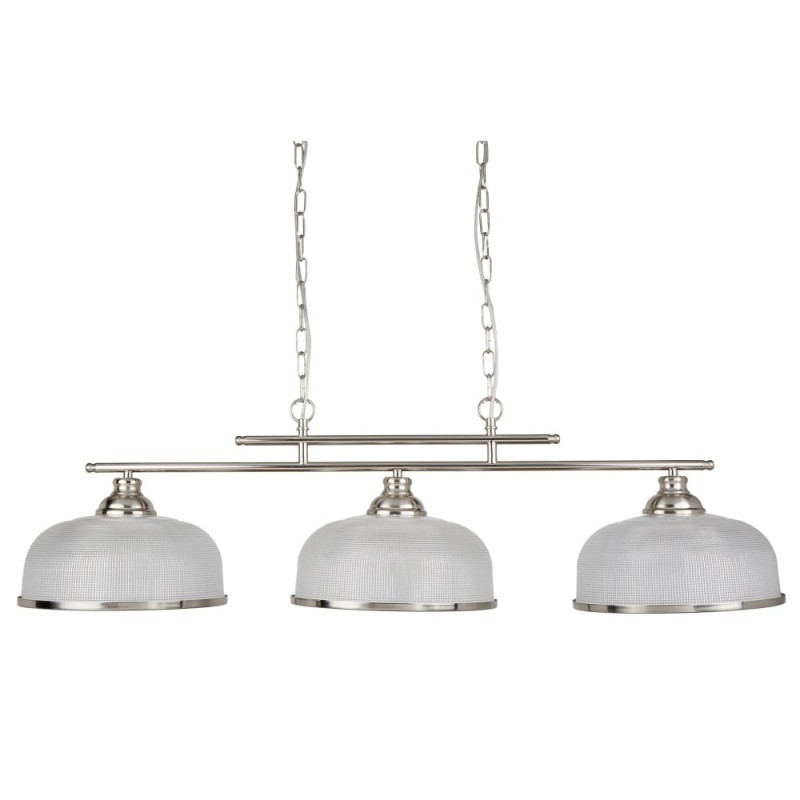 Searchlight-3593-3SS - Bistro II - Textured Clear Glass & Satin Silver 3 Light over Island Fitting