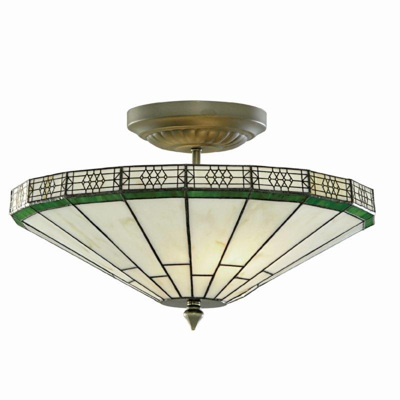 Searchlight-4417-17 - New York - Tiffany Glass 2 Light Semi-Flush