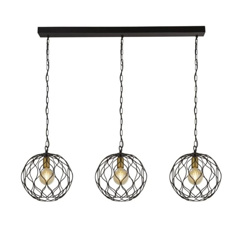 Searchlight-4503-3BK - Finesse - Black & Gold Cage 3 Light over Island Fitting