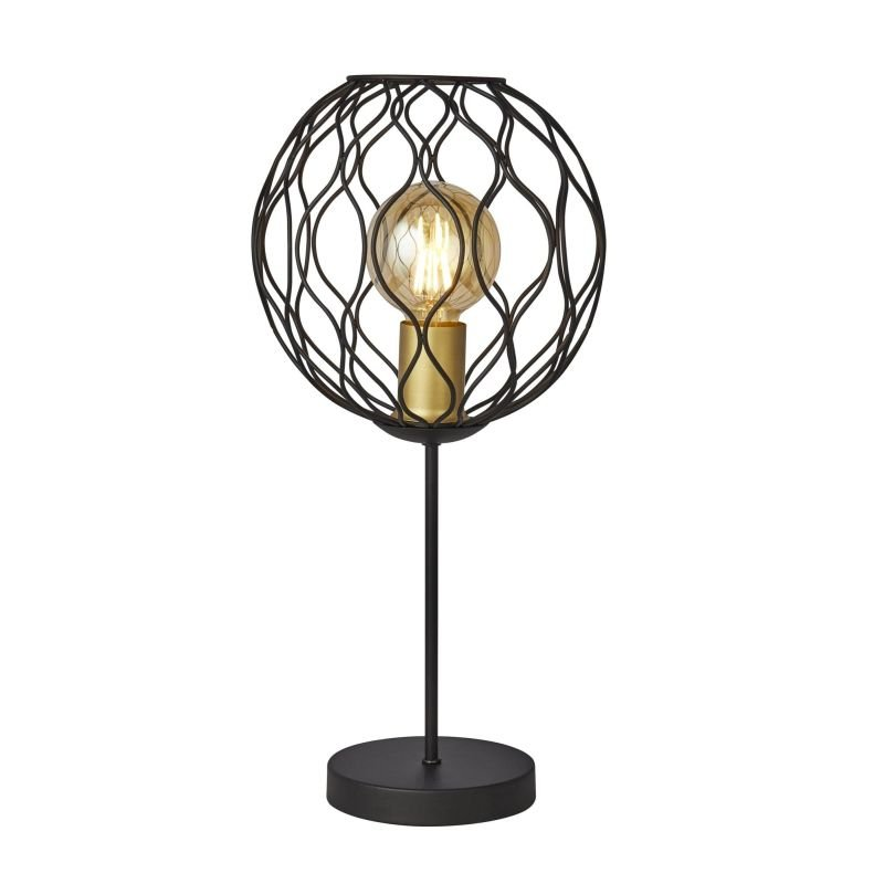 Searchlight-4508BK - Finesse - Black & Gold Cage Table Lamp