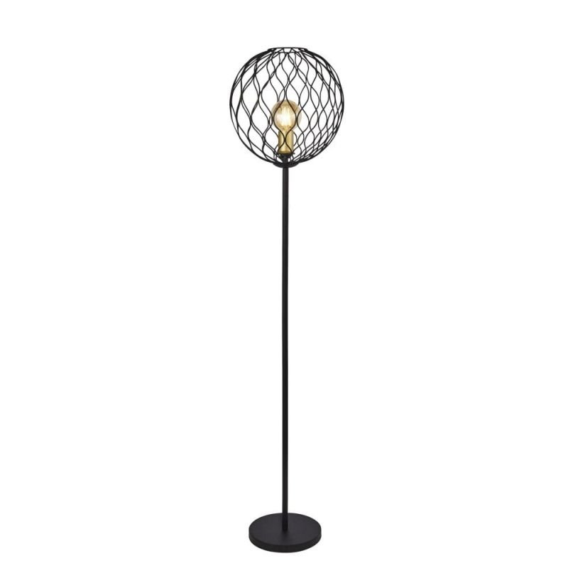 Searchlight-4509BK - Finesse - Black & Gold Cage Floor Lamp