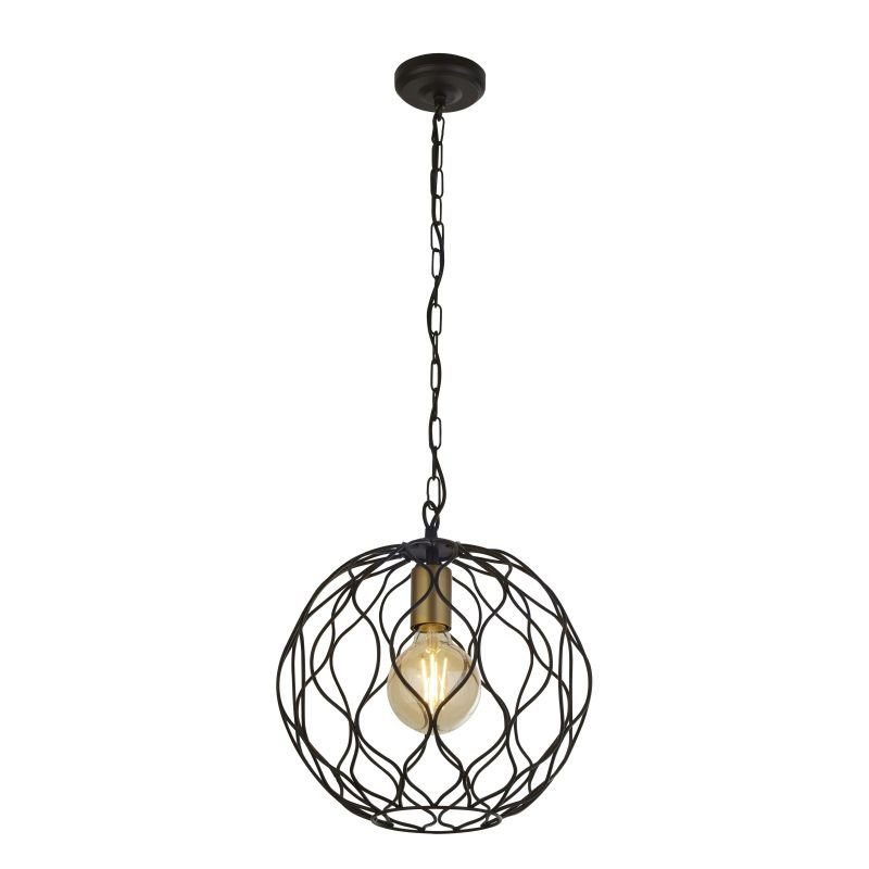 Searchlight-4511-1BK - Finesse - Matt Black and Gold Single Globe Pendant