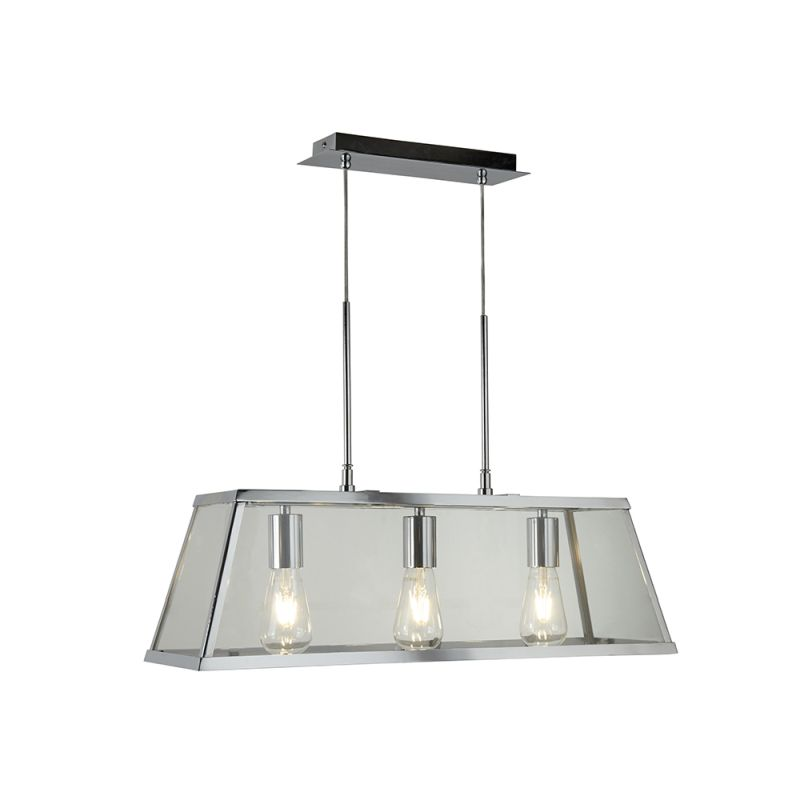 Searchlight-4613-3CC - Voyager - Polished Chrome & Glass 3 Light over Island Fitting