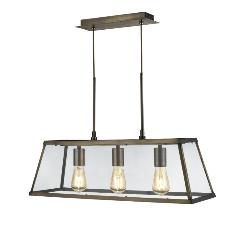 Searchlight-4613-3AB - Voyager - Antique Brass & Glass 3 Light over Island Fitting