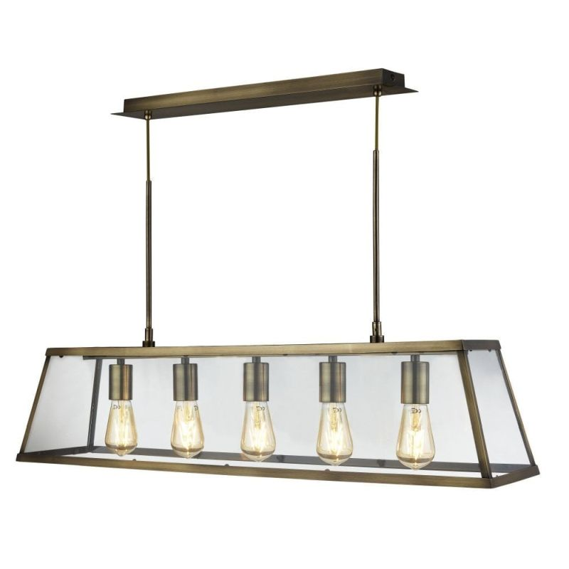 Searchlight-4614-5AB - Voyager - Antique Brass & Glass 5 Light over Island Fitting
