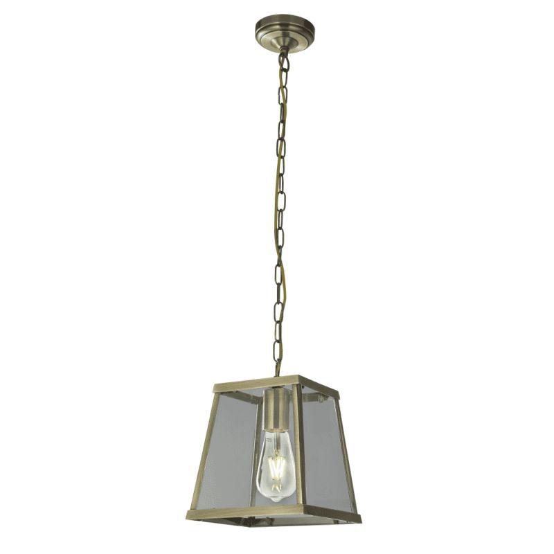 Searchlight-4614AB - Voyager - Antique Brass & Glass Single Lantern Pendant