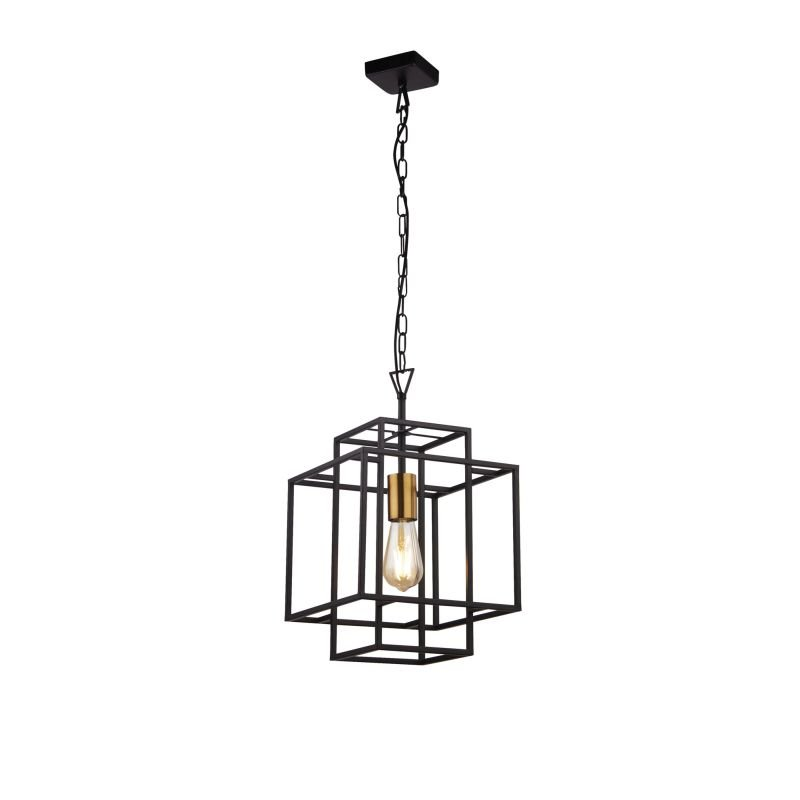 Searchlight-4631BK - Crate - Black & Gold Single Cage Pendant