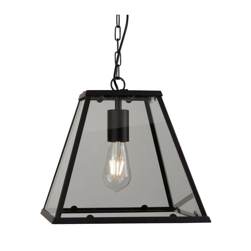 Searchlight-4661BK - Voyager - Matt Black & Glass Tapered Single Lantern Pendant
