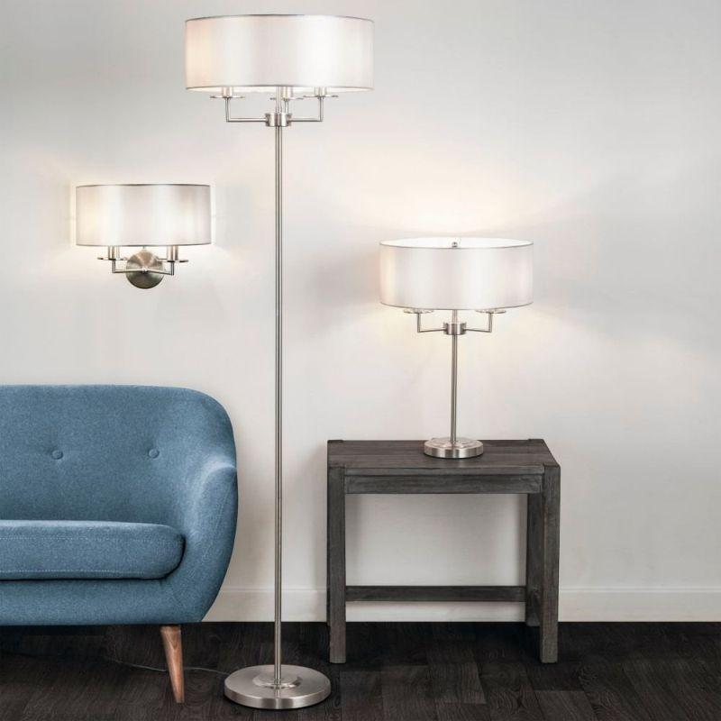 Searchlight-4787SS - Knightsbridge - Silver Silk Shade & Satin Silver 3 Light Table Lamp