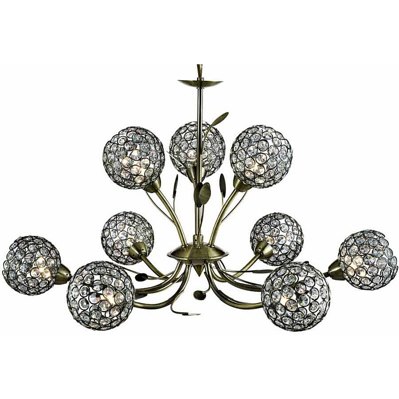 Searchlight-5579-9AB - Bellis II - Crystal & Antique Brass with Leaf 9 Light Centre Fitting