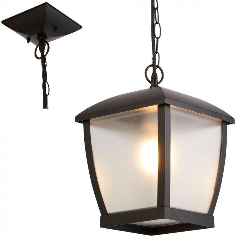Searchlight-6592BK - Seattle - Frosted & Black Lantern Pendant