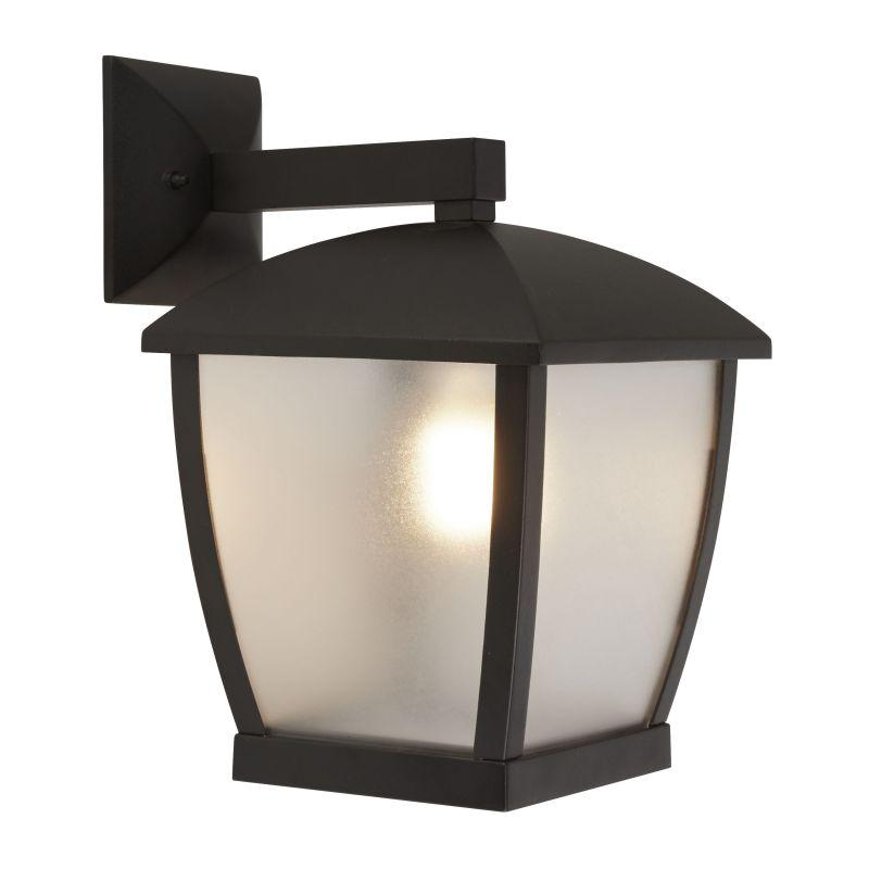Searchlight-6593BK - Seattle - Frosted & Black Lantern Wall Lamp