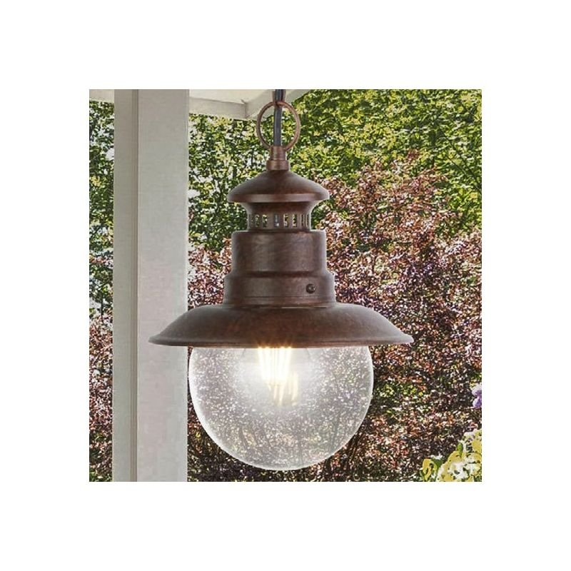 Searchlight-7653RU - Station - Outdoor Clear Glass & Rustic Brown Pendant