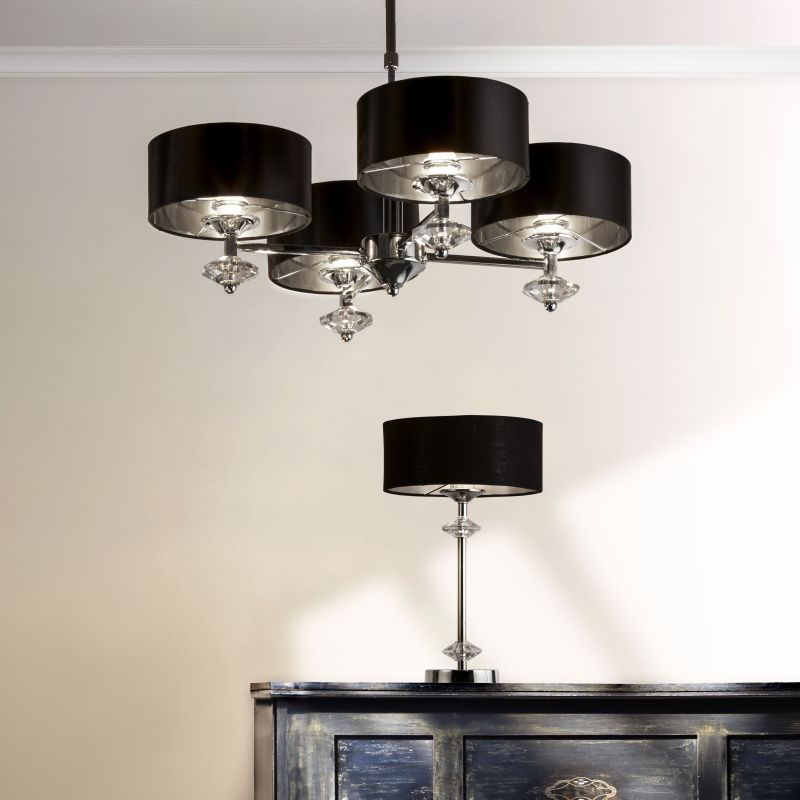 Searchlight-7654-4CC - New Orleans - Black & Polished Chrome 4 Light Centre Fitting