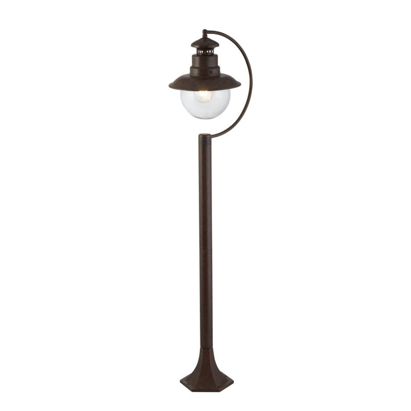 Searchlight-7655RU - Station - Outdoor Clear Glass & Rustic Brown Post