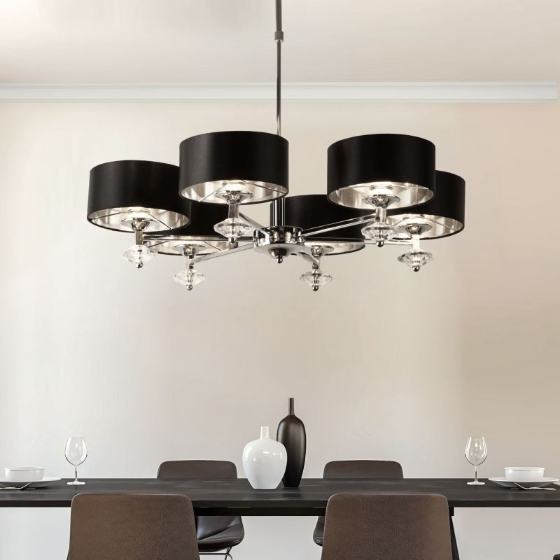 Searchlight-7656-6CC - New Orleans - Black & Polished Chrome 6 Light Centre Fitting