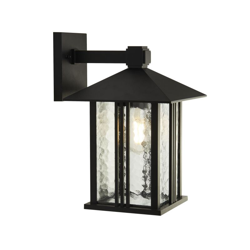 Searchlight-7926BK - Venice - Outdoor Clear Water Glass & Black Lantern Wall Lamp