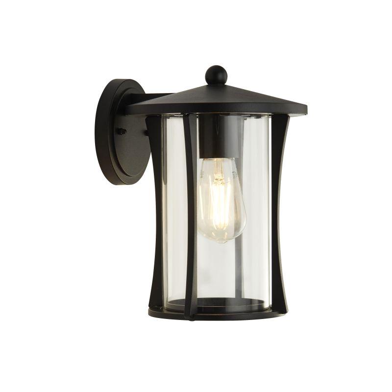 Searchlight-8477BK - Pagoda - Outdoor Clear Glass & Black Lantern Wall Lamp