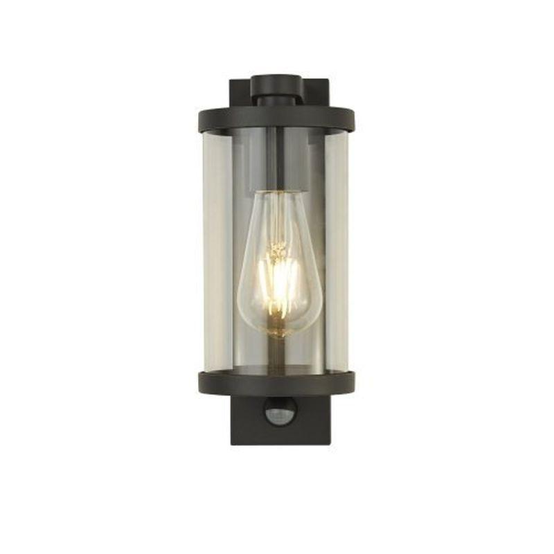Searchlight-8631BK - Lantern - Clear Glass & Black PIR Wall Lamp