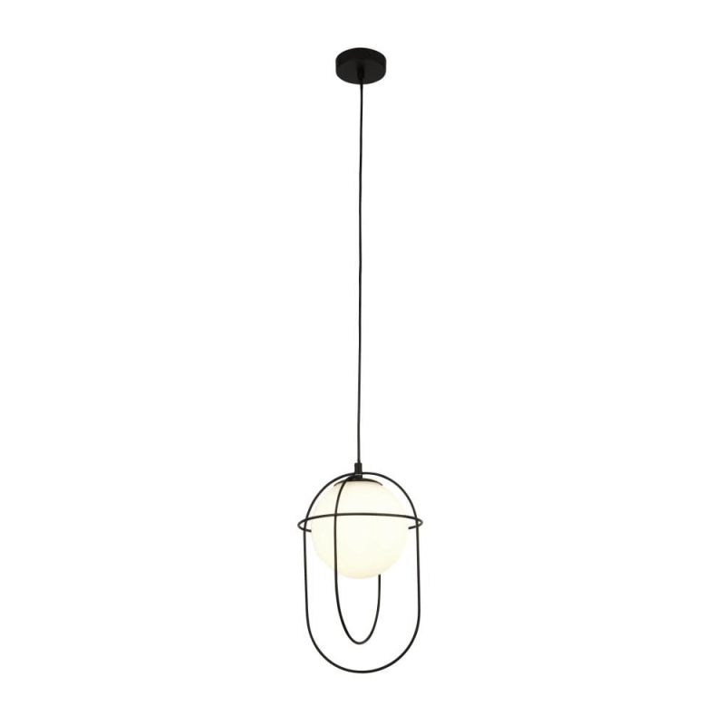 Searchlight-9131BK - Axis - White Glass with Black Cage Single Pendant