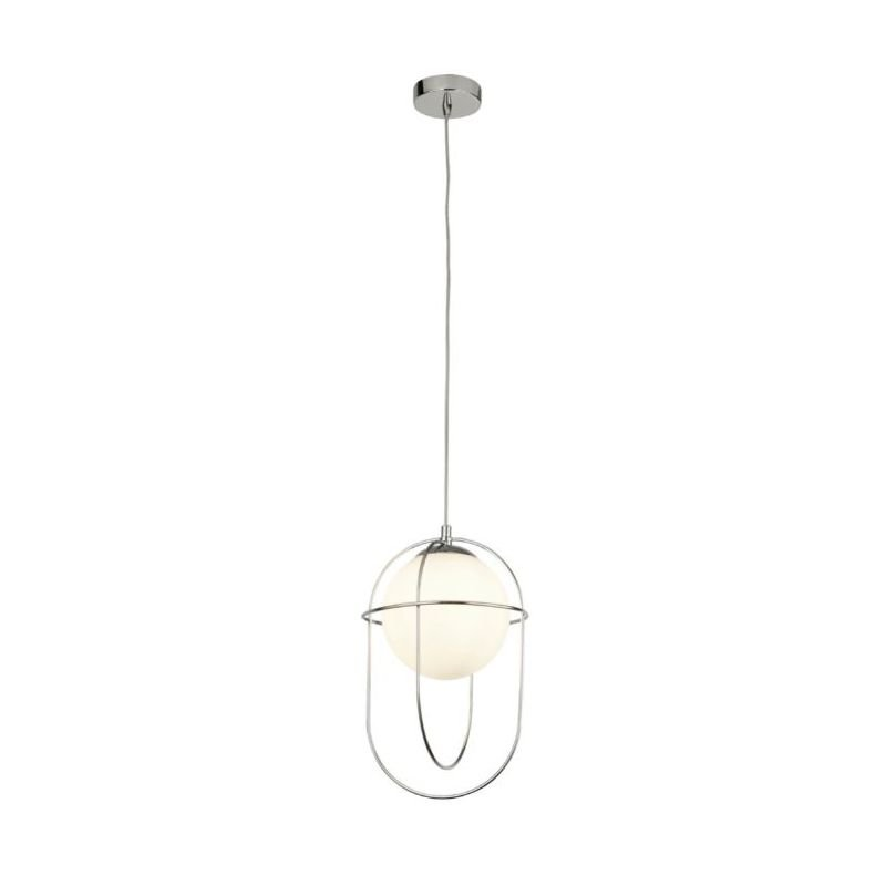 Searchlight-9131CC - Axis - White Glass with Chrome Cage Single Pendant