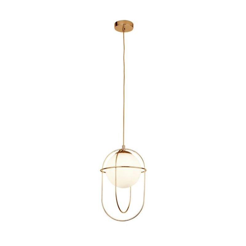 Searchlight-9131PB - Axis - White Glass with Gold Cage Single Pendant