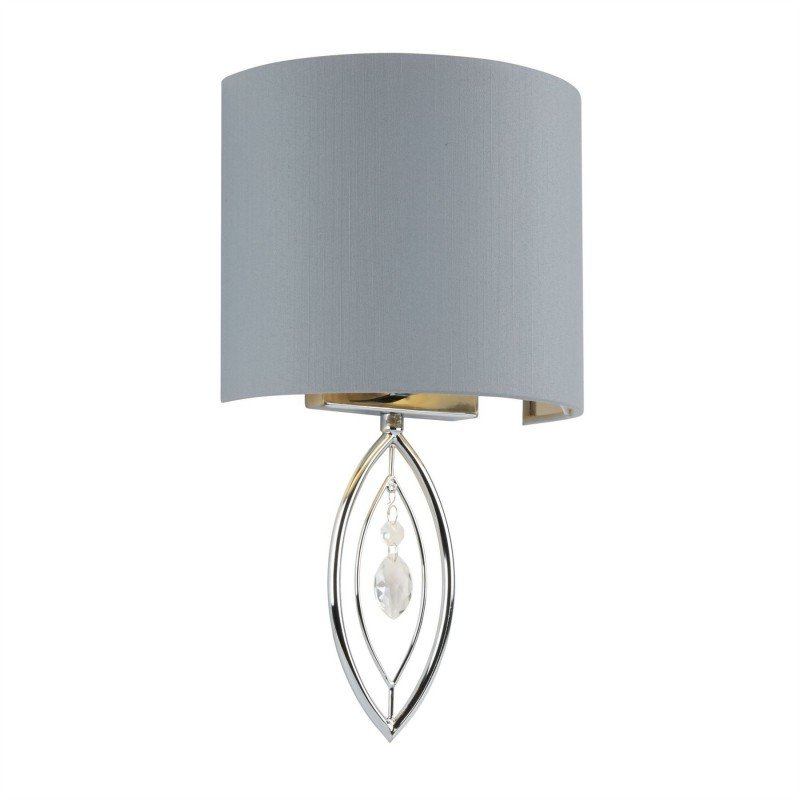 Searchlight-9137CC - Crown - Grey & Silver with Chrome Round Wall Lamp