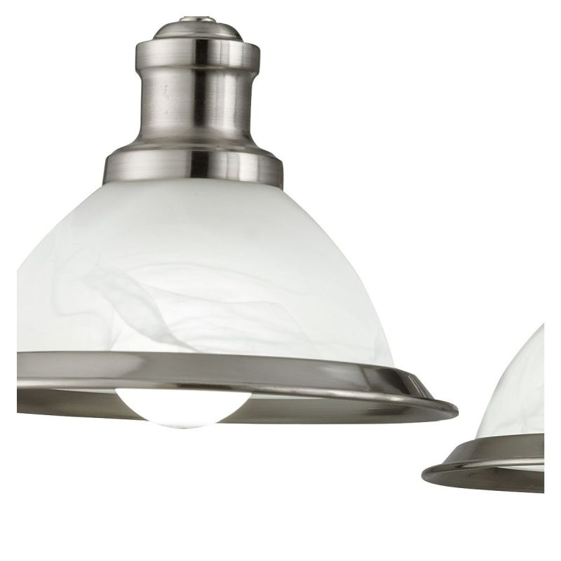 Searchlight-1595-5SS - Bistro - Alabaster Glass & Satin Silver 5 Light Centre Fitting