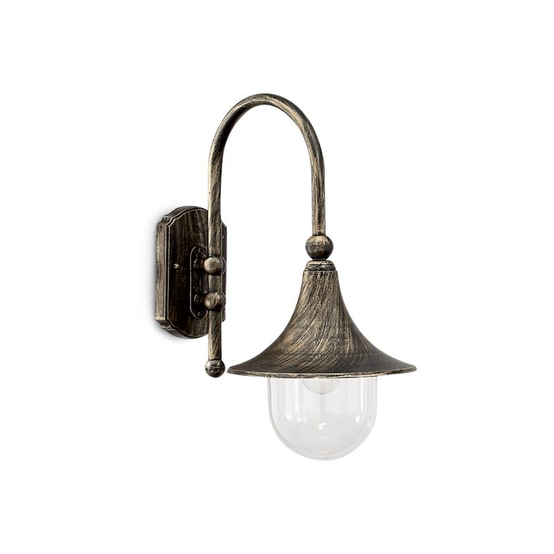 Ideal Lux-024134 - Cima - Outdoor Black & Gold Wall Lamp