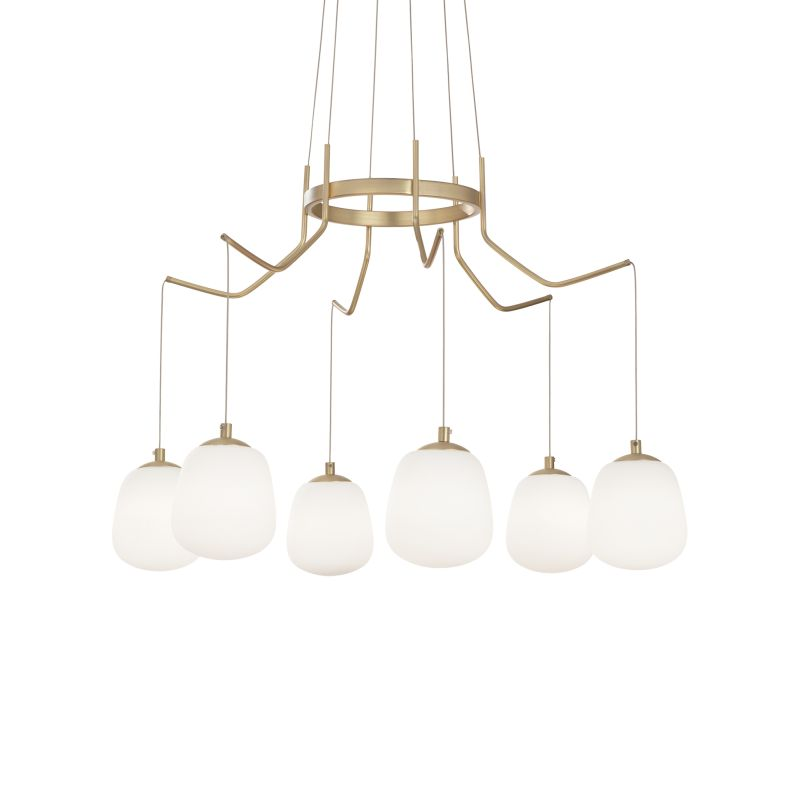 IdealLux-206387 - Karousel - White Glass with Satin Gold 6 Light Centre Fitting